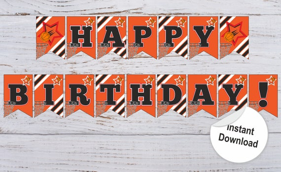 Basketball Banners Basketball Birthday Banner Basketball Party Etsy