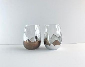 Variegated RedCopper Tipsy Stemless Wine glasses