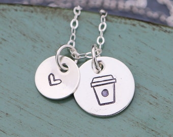 Coffee Necklace Latte Coffee Lover Gift • Coffee Jewelry Cafe Mocha Coffee Cup • Sterling Silver Dainty Coffee Charm Caffeine Necklace