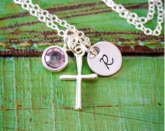Cross Necklace Sterling Silver Cross Gift • Easter First Communion Gift Girl Baptism Gift Confirmation • Necklace Religious Gift Christian
