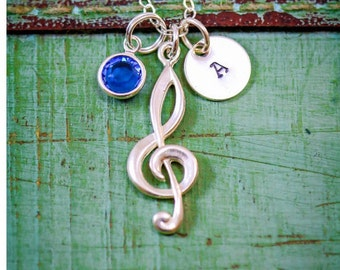 Music Jewelry Personalized Music Teacher Gift Treble Clef Jewelry • Band Marching Singing Gift Music Musician Jewelry Initial
