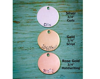 3/4 inch Disc Add • Handstamped Disc Sterling Silver Disc 14K Gold Disc Rose Gold Disc • Custom Necklace AddOn Charm Round Disc