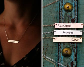 Rose Gold Bar Necklace Silver Bar Necklace Custom Bar Jewelry • Layering Bar Pendant Nameplate Handstamped • Sterling Silver Bar