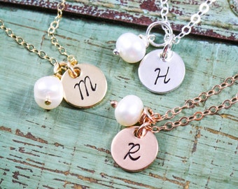 Dainty Initial Necklace Stamped Gold Initial • Jewelry Rose Gold Initial Necklace • Sterling Silver Initial Tiny Initial Tag Small