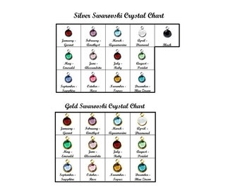 Silver Swarovski Charm Gold Swarovski Crystal  • Extra Birthstone AddOn Birthstone Charm • Round Channel Drop Charm Crystal Color