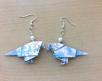 Origami sparrows earrings made from maps
