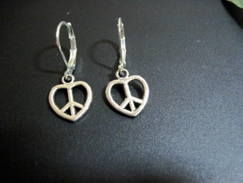 Single earringpair of earrings Mens silver peace sign dangle earrings Earrings for menwomen, One male earring