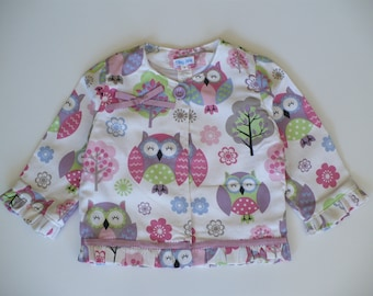GIRLS OWL JACKET, childrens clothes, girl, top, jacket, owl, birthday, special occasion, handmade