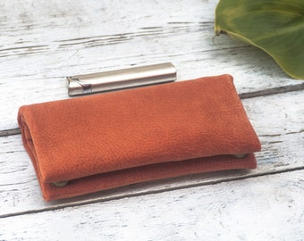 Tobacco pouch, terracotta imitation leather upholstery fabric, thick tapestry fabric, handmade tobacco case