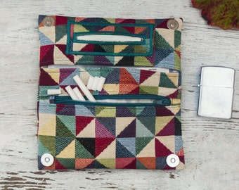 Tobacco pouch, geometric tapestry fabric, multicolor triangles upholstery fabric, handmade tobacco case
