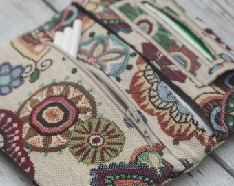 Tobacco pouch, multi color tapestry fabric tobacco case,  mandala designs upholstery fabric, handmade tobacco pouch