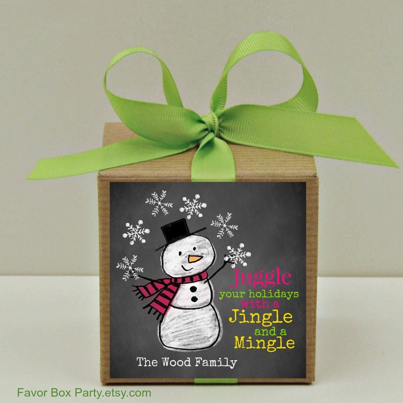 Holiday Party Favor Boxes Snowman Jingle While You Mingle Snowman Gift Boxes Showman Labels Cookie Box Christmas Labels Holiday Labels