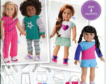 PlaysuitJumpsuit American Doll-UNCUTFF Simplicity 1713 Dated 2014-One Size Pattern 18 Girl Doll Clothes Sleeveless or Short Sleeve Dress