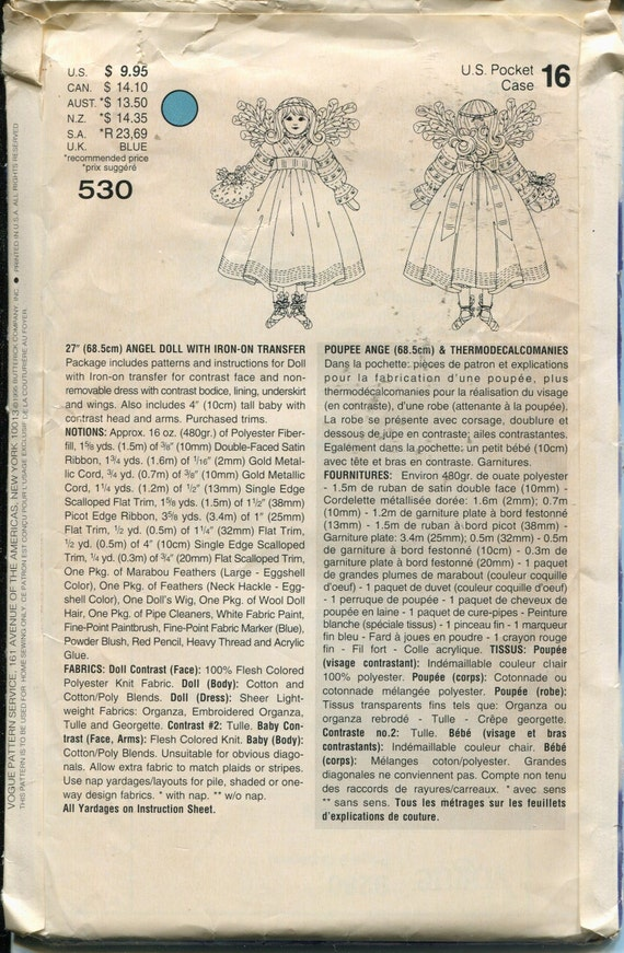 Pattern Angel Doll 27 with Dress Underskirt and Wings with Iron On Transfer Vogue Crafts 530 Dated 1995 One  Size UNCUTFF
