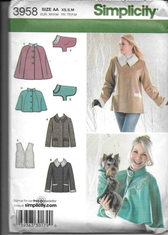 Patrón chaqueta mujer capa rayado chaleco y simplicidad | Etsy