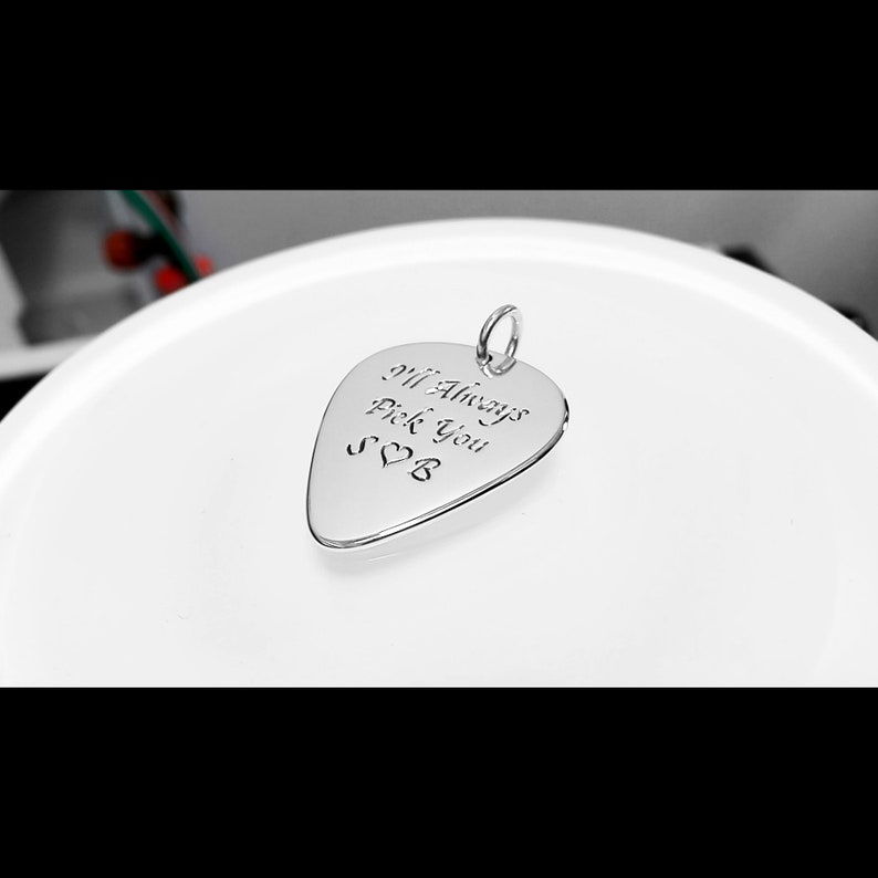 Bass clef guitar pick necklace Sterling silver bass guitar pendant Engravable jewelry for him Rock band necklace Handmade Personalized gift