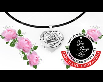 Rose necklace Heart necklace Love sign Sterling silver Personalized jewelry Gift for women Sister gift Mother in law gift Gift for mum