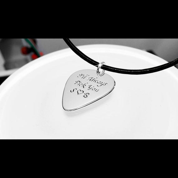 Boyfriend Personalized Anniversary Gift for Girlfriend Custom Long Distance Gift for Guitar Player Engraved Guitar Pick Necklace