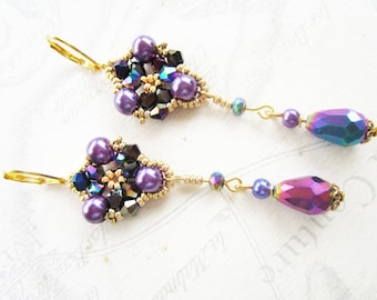 Purple vitrail Crystal and purple beads for stained glass drop earrings