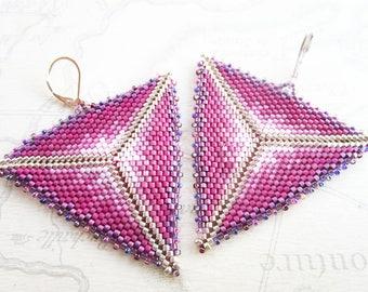 """Beaded earrings ' Tye and Dye"", triangle Pink/Purple tones"
