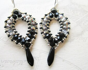 Oval faceted black and silver/crystal drop beaded earrings