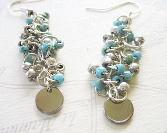 Silver and turquoise beaded chain earrings