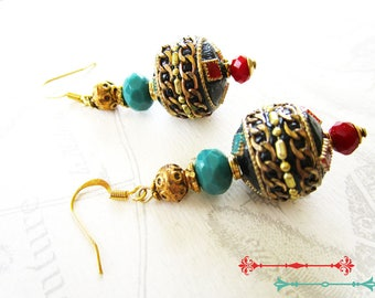Earrings, Nepalese beads including turquoise, gold, black, Red