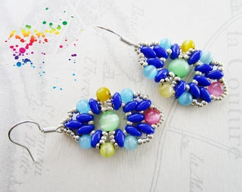 Beaded earrings, indigo blue and multicolored super-duos