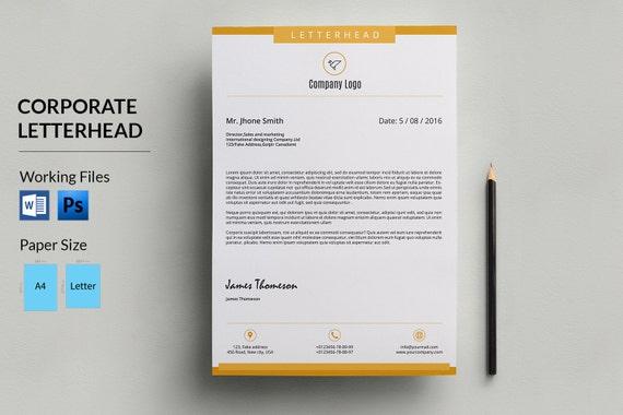 Corporate Letterhead Template Business Letterhead Company Etsy