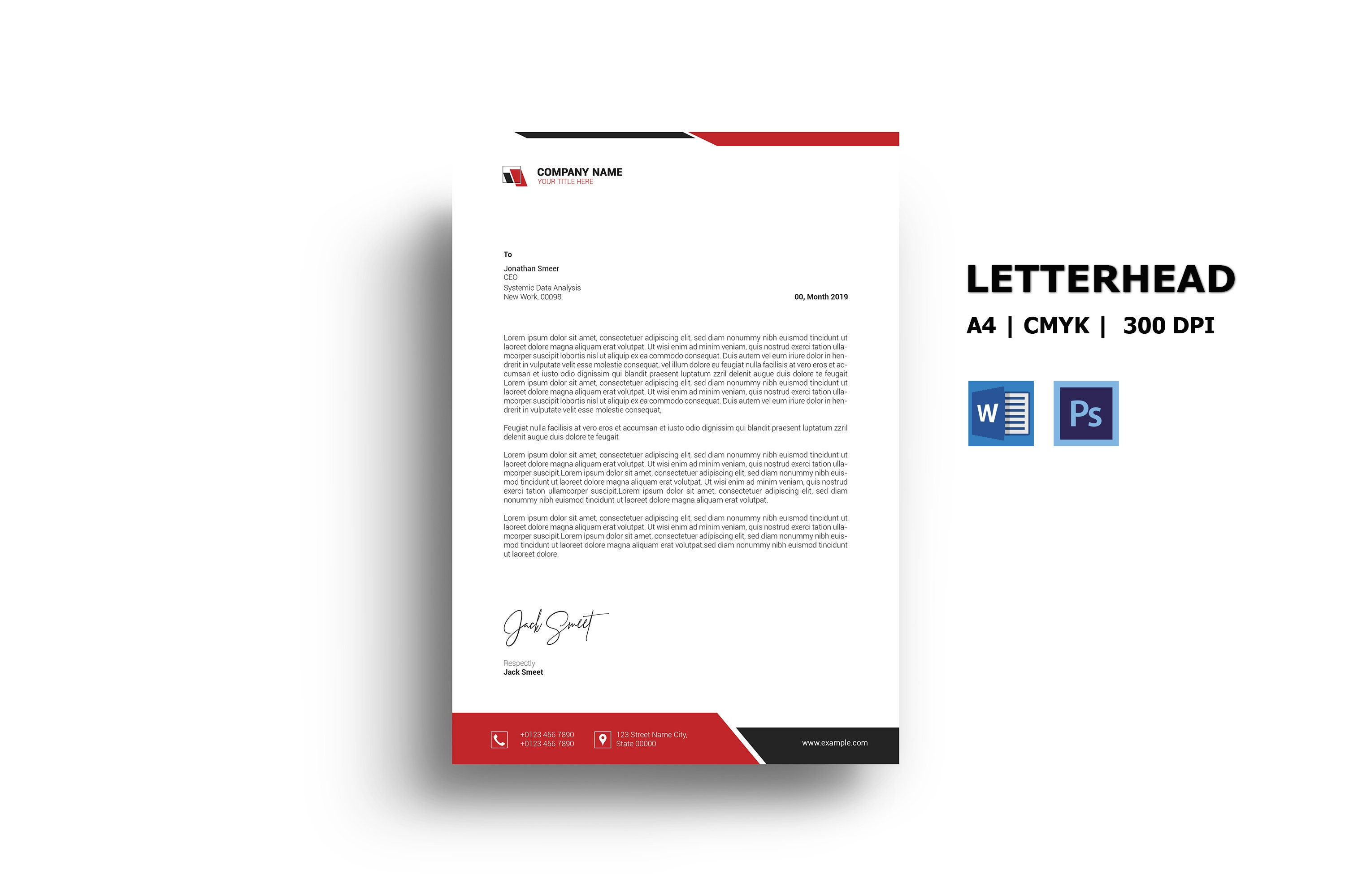 Company Letterhead Design  Ms Word & Photoshop Template For Header Templates For Word