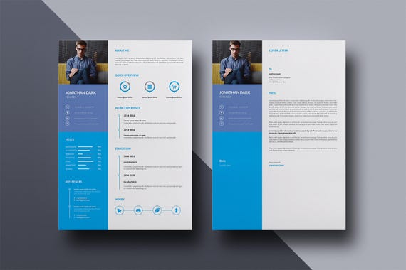 Clean Resume Template Creative Resume Cv Design One Page Resume Ms Word And Indesign Template Instant Download Cv 031