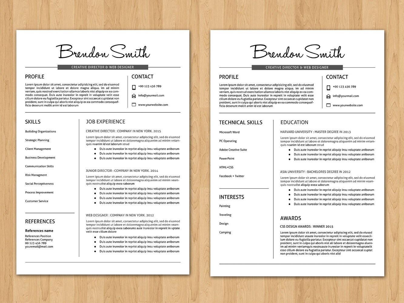 professional resume template cv template cv design modern