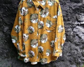 Vintage 90s AQUASCUTUM Buttondown Flannel Wool Shirt 1992. Mens Large