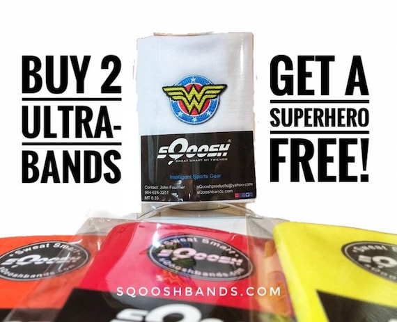 Wonder Woman Headband UltraBand Free, w/purchase of 2 regular priced Ultra-Bands, tubular bandana, scarf, Super Hero 5k, fishing, outdoor