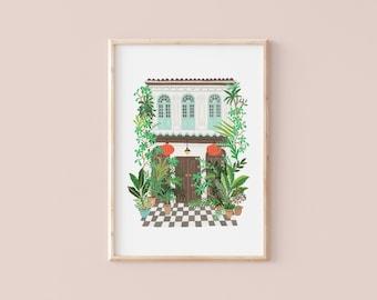 Singapore house | Botanical illustration | Art Print | Hoglet&Co