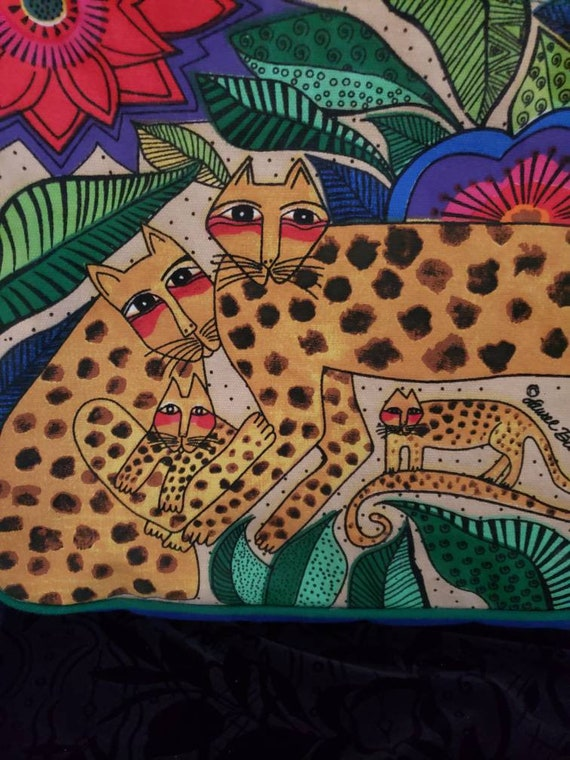 Vintage Laurel Burch tote bag with wooden cat dang