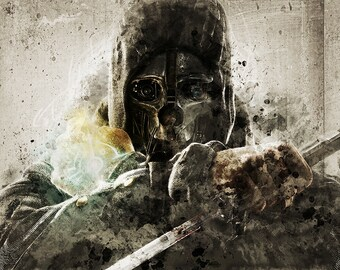 Dishonored Game art, digital poster , poster, video game poster, video game art, gift for him