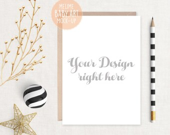 Download Free Card Mockup, Black and Gold Scene Mockup, 5x7 invitation Mockup, Styled Photography Mockup, Card and Envelope, Cards Mockup (5x7GOLD) PSD Template