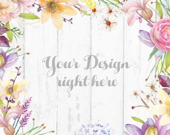 Download Free Watercolor Floral Background, Floral Wood Desk Mockup, Hand painted floral MockUp, White Wood Mockup, Wedding Mock Up (WatercolorFloral) PSD Template