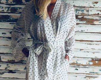 Kiyomi White with Navy Dot 100% Cotton Kimono Maxi Robe Dressing Gown, Maternity, Bridesmaid, Loungewear