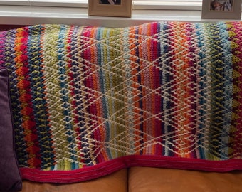Traditional Folk Queen Blanket  -  Hand Crocheted throw / Afghan