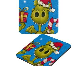 Dragon | Christmas Dragon Laminated Coaster | Christmas Coasters | Holiday Coaster