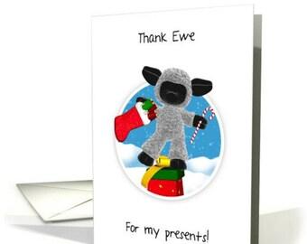 Thank You, Thank Ewe, Christmas Card With Sheep, - Thank Ewe Card For Presents and for doing Christmas