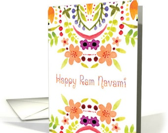 Ram Navami In Watercolor Flowers And Font Greting card