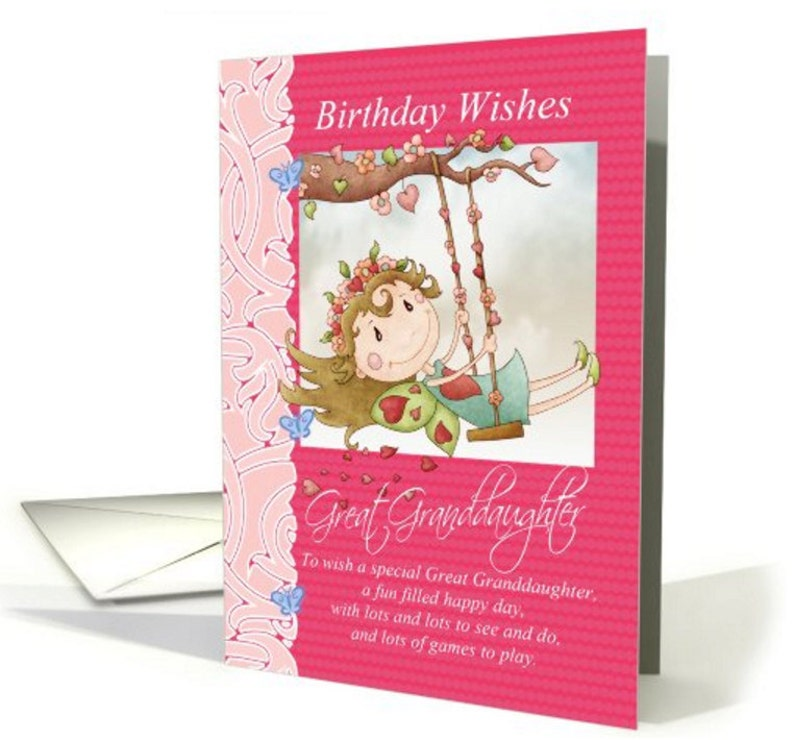 Granddaughter Birthday Card With Cute Fairy On Swing