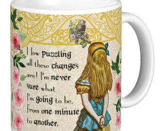 Alice In Wonderland - Double Quote Mug, Mug has a different quote either side, Yellow Lattice effect top  - Alice Gift Mug