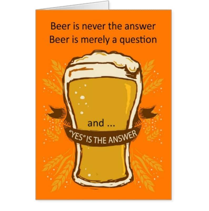 Bier Is Het Antwoord Verjaardag Kaart Bier Bier Leuke Etsy