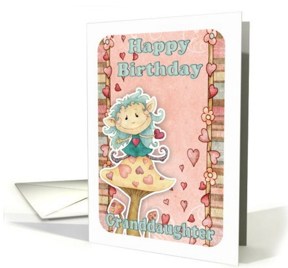 Granddaughter Birthday Card With Cute Little Elf On Mushroom