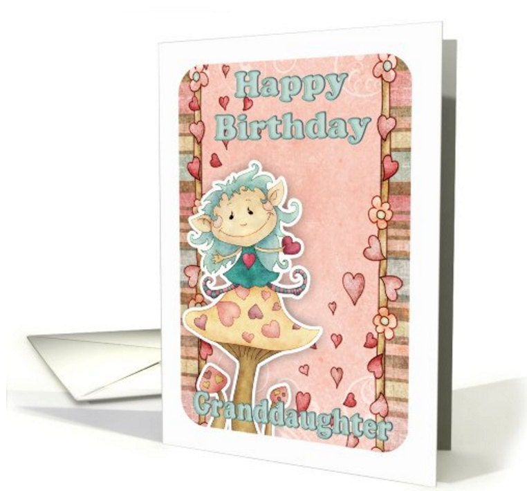 Granddaughter Birthday Card With Cute Little Elf On Mushroom