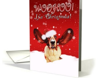 Basset Hound WooHoo I'ts Christmas Greeting Card With Dog card
